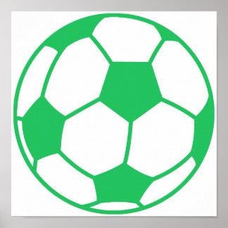 Kelly Green Soccer Ball Poster