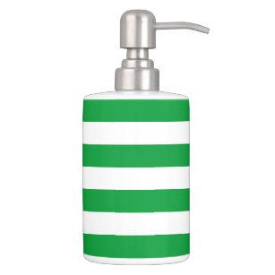Kelly Green Stripes Pattern Soap Dispenser Toothbrush Holder