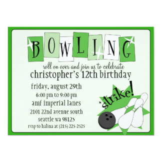 Kelly Green Totally Retro Bowling Birthday Party 6.5x8.75 Paper Invitation Card