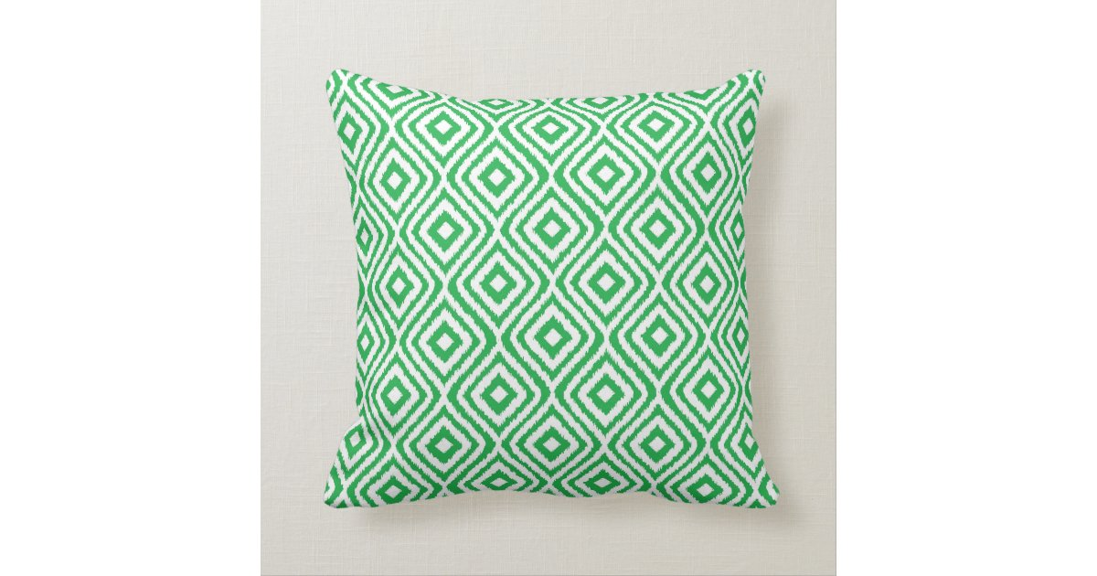 Kelly Green Throw Pillow : Kelly Green Tribal Ikat Diamond Pattern Throw Pillow Zazzle