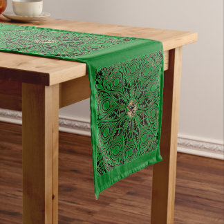 Kelly Green Triskele Mandala Long Table Runner