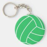 Kelly Green Volleyball Basic Round Button Keychain