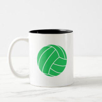 Kelly Green Volleyball Two-Tone Coffee Mug