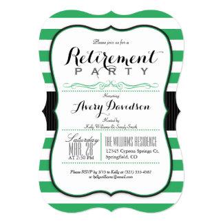 Kelly Green & White; Elegant Retirement Party 5x7 Paper Invitation Card