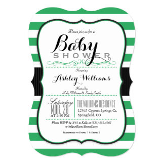 Kelly Green & White Stripes; Elegant Baby Shower 5x7 Paper Invitation Card