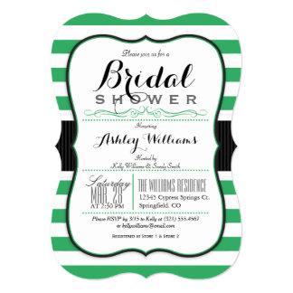 Kelly Green & White Stripes; Elegant Bridal Shower 5x7 Paper Invitation Card