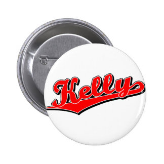Kelly in red pinback buttons