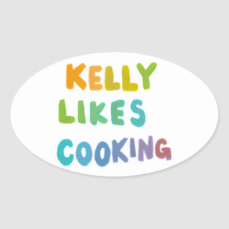 Kelly likes cooking fun colorful unique word art oval sticker