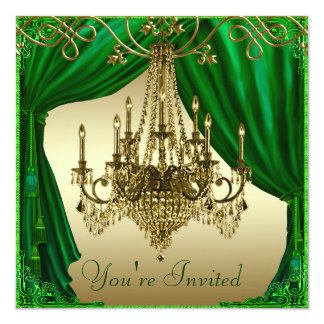 Kellyy Green Gold Chandelier Party Invitations