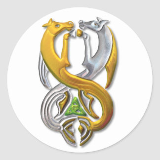 Kelpie gold and silver classic round sticker