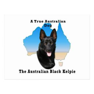 Kelpie negro australiano con el mapa postal