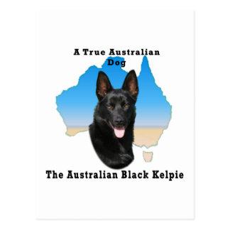 Kelpie negro australiano con el mapa postales
