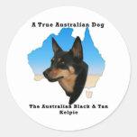 Kelpie negro y del moreno australiano con el mapa pegatinas redondas