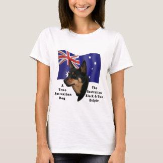 Kelpie negro y del moreno australiano con la playera