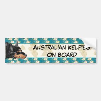 Kelpie Tan Leaves/Teal Floral Bumpersticker Bumper Sticker