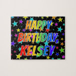 "[ Thumbnail: ""Kelsey"" First Name, Fun ""Happy Birthday"" Jigsaw Puzzle ]"