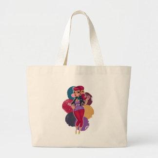 Kelsie Kat - Bubble Gum Pinup Large Tote Bag