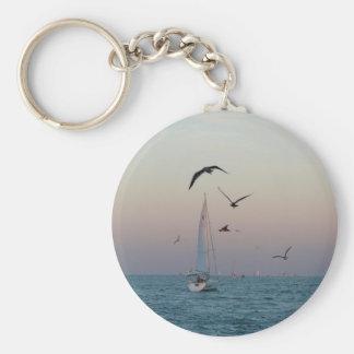 Kemah sailboat basic round button keychain