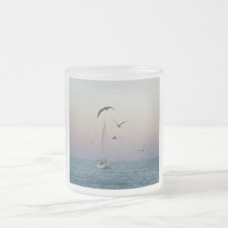 Kemah sailboat frosted glass coffee mug