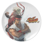 Ken and Ryu Dinner Plate
