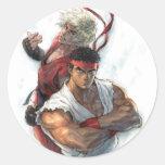 Ken and Ryu Round Sticker