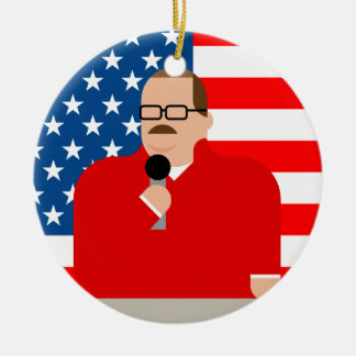 Ken Bone Christmas Ornament: American Flag Ceramic Ornament
