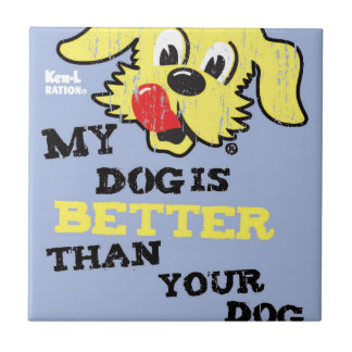 Ken L-Ration T Shirt My Dogs Better by Retrobrand. Ceramic Tile
