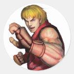 Ken listo para luchar pegatina redonda