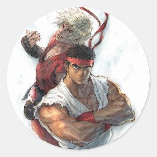 Ken y Ryu Etiqueta Redonda