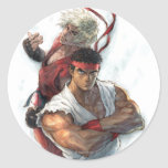Ken y Ryu Pegatina Redonda