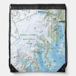 Kenai Fjords map backpack