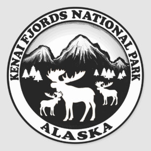 Kenai Fjords National Park Alaska moose circle Classic Round Sticker