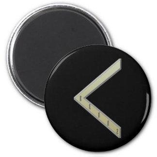 Kenaz Rune gold 2 Inch Round Magnet