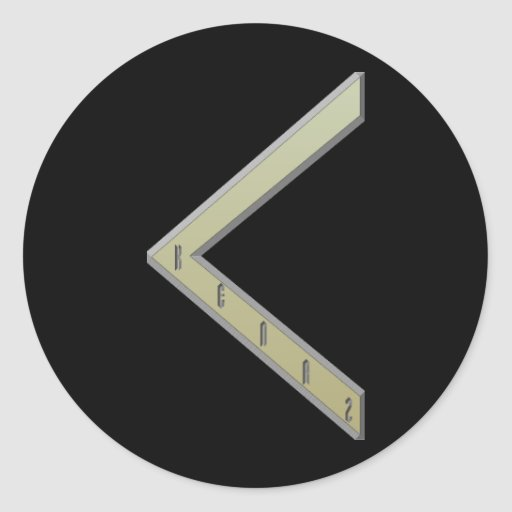 Kenaz Rune gold Round Stickers