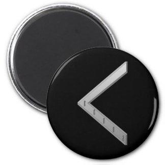 Kenaz Rune grey 2 Inch Round Magnet