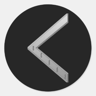 Kenaz Rune grey Classic Round Sticker