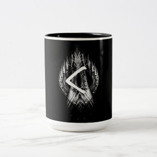 ☼KENAZ - RUNE OF REGENERATION & FIRE☼ Two-Tone COFFEE MUG