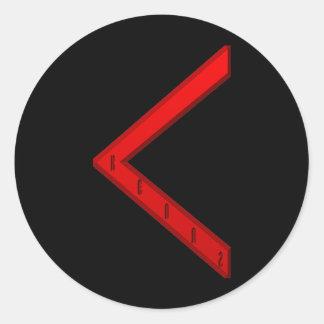 Kenaz Rune red Classic Round Sticker