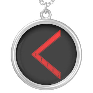 Kenaz Rune red Round Pendant Necklace