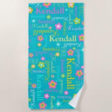 Beach Themed Kendall flowers name beach towel