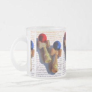 Kendama, Red and Blue Color Ink Sketch 10 Oz Frosted Glass Coffee Mug