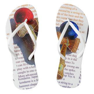 Kendama, Red and Blue Color Ink Sketch Flip Flops