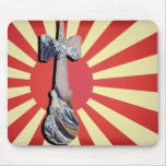 Kendama Wave Lighthouse with Vintage Japan Flag Mouse Pad