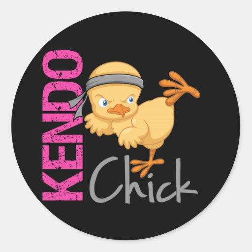 Kendo Chick Round Sticker