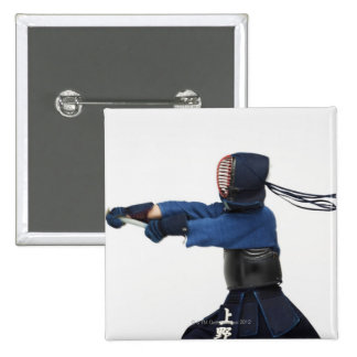 Kendo Fencer Practicing 2 Inch Square Button