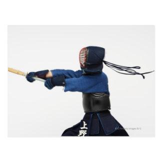 Kendo Fencer Practicing Postcard