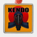 Kendo men1 square metal christmas ornament