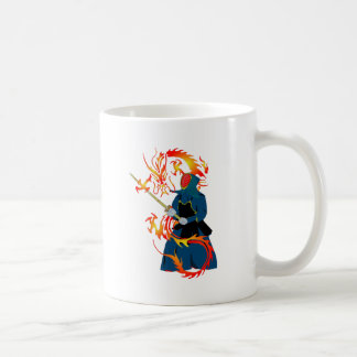 Kendo Swordsman and Fire Dragon Coffee Mug