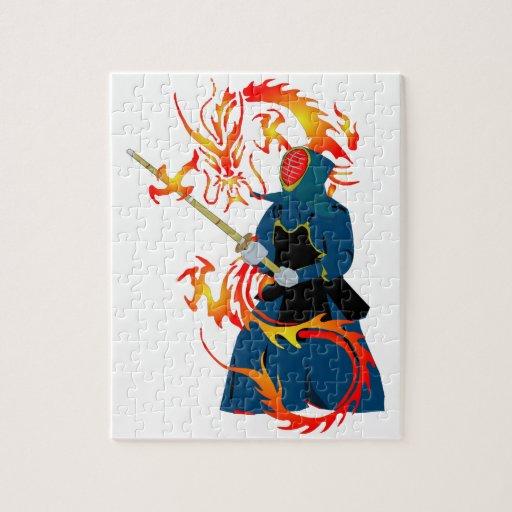 Kendo Swordsman and Fire Dragon Puzzle