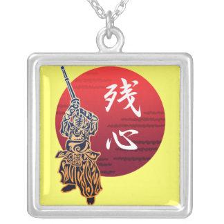 Kendo zanshin square pendant necklace